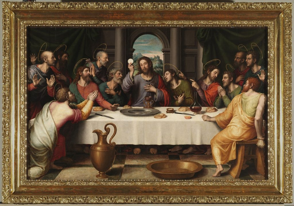 La Última Cena. Juan de Juanes 1560, con el cáliz de la catedral de Valencia. Madrid, Museo del Prado
