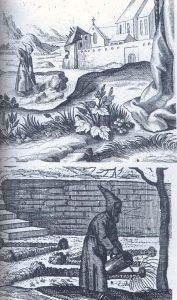 Los capuchinos trabajando en el huerto