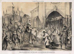 Proclamación de Isabel la Católica en Segovia, Litografía de Francisco de Paula Van Halen, 1847